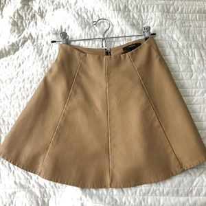 Tan, faux-leather, high waisted skirt